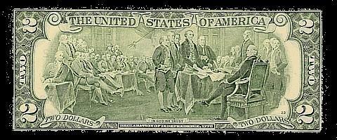 US $2 bill reverse 1976